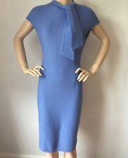 NWT St John Knit dress size 2 Blue Cornflower tweed wool rayon