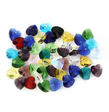 """20 Heart Beads Glass Multi colored 3/8"""" or 10mm - BD502"""