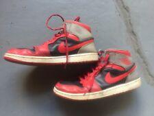 Used Nike Air Jordan Retro 1 Men's Shoes Size 10.5- Red Black White Grey