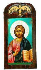 Handmade Wooden Greek Orthodox Aged Icon Painting Canvas Jesus Christ M50