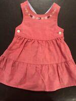 Tommy Hilfiger Denim Jumper Dress Girls 3-6 Months Red Tiered Skirt Casual Denim