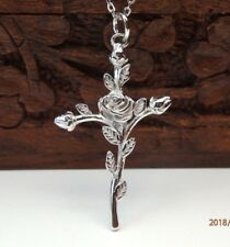 Solid 925 Sterling Silver Rose & Cross Design Pendant Necklace Chain