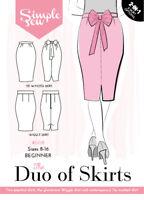 Womens Ladies Simple Sew Duo of Skirts Pattern UK 8-18