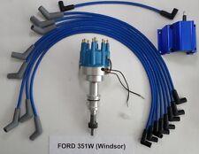 FORD 351W Windsor PRO-BILLET Distributor, 50K Coil & BLUE 8mm Spark Plug Wires