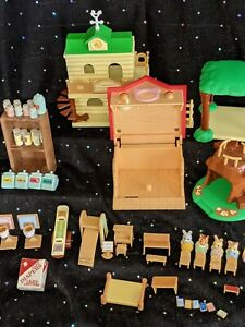 Calico Critters, Huge Lot of 55 pieces, by EPOCH, includes Sylvanian Schoolhouse