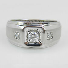 Natural 0.45 CT Diamond Engagement Band Solid 14K Gold Mens Rings Size R V W