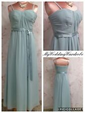 REDUCED LONG CHIFFON OCCASION DRESS PALE GREEN EVENING PROM BRIDESMAID 6 PETITE