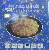 Tube Lumineux 144 LED Blanc Chaud Noël Extérieur 6 MT Décorations Lumières