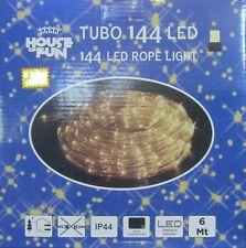 TUBO BRILLANTE 144 LED BLANCO CÁLIDO LUCES NAVIDAD X EXTERIOR 6 METROS