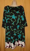 Maggy L London women's black green multi stretch shift dress 3/4 plus W top $109
