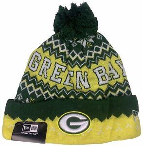 Green Bay Packers Cap Hat Football NFL New Era POM Beanie