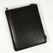 Franklin Covey Black Full Grain Leather 7 Ring Zip Binder 8 X 10 X 2 12