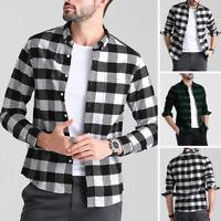 Mens Long Sleeve Shirt Plaid Check Causal Slim Fit Smart T Shirt Holiday Tee Top