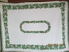 """Holly & Berries ~ Christmas Tablecloth ~ Mint ~ 50"""" x 65"""""""