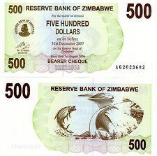 Zimbabwe Billet 500 $  DOLLAR 2007 BEARER P43 POISSON   NEUF UNC