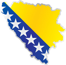 "Bosnia and Herzegovina Country Flag Map Car Bumper Window Sticker Decal 4""X5"""