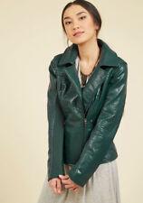 Steve Madden Size Large Hunter Green Asymmetrical Zip Faux Leather Moto Jacket