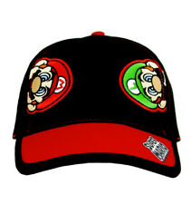 Super Mario and Luigi Embroidered Baseball Cap Hat, Black/Red