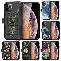 For Apple iPhone 11 Pro Max (6.5) Armor Holster Belt Clip Hybrid Case