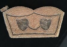 "Antique Handmade Clutch Beaded Purse Faux Pearls and Gray Leaf Design  3 3/4"" x"