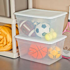 Large Plastic Storage Tote Container Clear Stackable Box 8 Set with Lid Bin 58QT