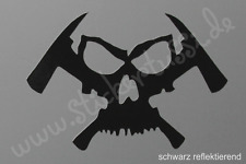 """Feuerwehr - Helm - Aufkleber """"Skull & Hatchet"""" in schwarz reflektierend"""