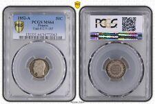 O1872 Rare 50 Centimes Napoléon III 1852 A Paris Argent FDC PCGS MS64