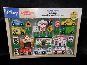NEW Melissa and Doug Mickey Mouse Deluxe Wooden Vehicles Set Disney 21 pc
