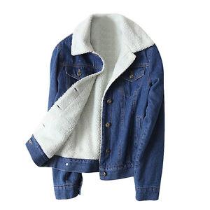 Winter Women's Denim Jean Jacket Long Sleeve Slim Warm Fur Lined Casual Coat
