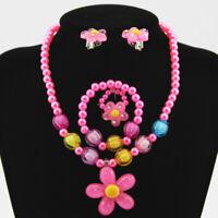 Baby kids Necklaces Jewelry Set Candy Beads Resin Plast Flower Pendants bracelet