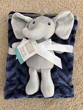 �Hudson Baby 2-piece Elephant Lovey & Blue Baby Blanket�