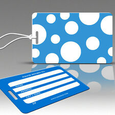 TagCrazy Polka Dot Luggage Tags,Blue & White Floating,Durable Plastic Loops-1 Pk