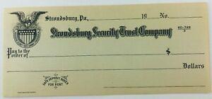 Vintage Stroudsburg Security Trust Company Blank Check Pennsylvania PA