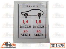AUTOCOLLANT STICKER pression pneu 125x15 de Citroen 2CV DYANE MEHARI AMI  -1525-