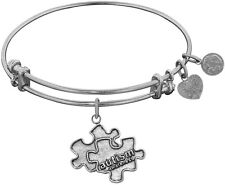 "Adjustable White Brass Generation Rescue ""Autism"" Angelica Bangle Bracelet"