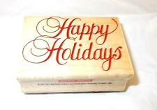 Hero Arts E-387 Fancy Happy Holidays rubber stamp Wood Mounted Cursive writing