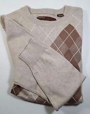 PERRY ELLIS Mens Sweater Diamond Pattern Brown Cream  Size L Cotton Crew