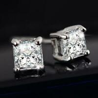 MENS BOYS 6MM SQUARE 18CT WHITE GOLD PLATED CUBIC ZIRCONIA CRYSTAL EARRINGS UK