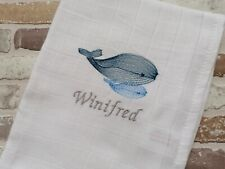 Whale baby muslin square personalised