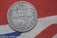 1918 KING  GEORGE V SILVER THREEPENCE COIN