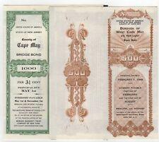 SPECIMEN - Lot of 2 - Cape May New Jersey Bonds