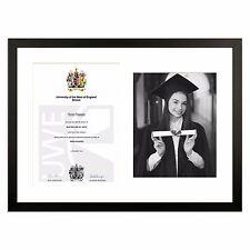 Matt Black Graduation Degree Award Diploma Frame with 8x10inch photo real WOOD