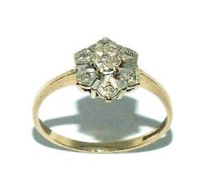 Ladies/womens 9ct 9carat yellow gold ring set with diamonds, UK size O