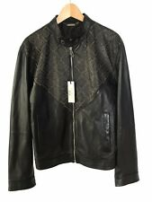 NWT VERSACE COLLECTION Men's BLACK LEATHER BOMBER JACKET Size 54 (2XL) $1895
