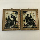 Antique Silhouette Glass Art Painting Lot of 2 - Romantic Couple with Dog