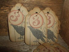 Primitive Grungy CROW #3 Tags (12) Vintage Olde Ephemera Distressed Jute Ties