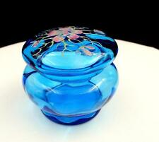 "BOHEMIAN BLUE PANEL OPTIC ART GLASS FLORAL ENAMEL 3"" LIDDED DRESSER BOX"