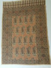 Vintage Cotton Paisley Prayer Rug Wall Hanging Art 44x31 blue red