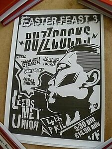 BUZZCOCKS  ORIGINAL MINI GIG POSTER FROM LEEDS POLY, GREAT CONDITION, 42 CM X 30
