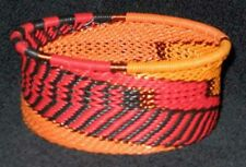 Handmade African Zulu Telephone Wire Basket Bowl - Tuna Can - Orange Feathers